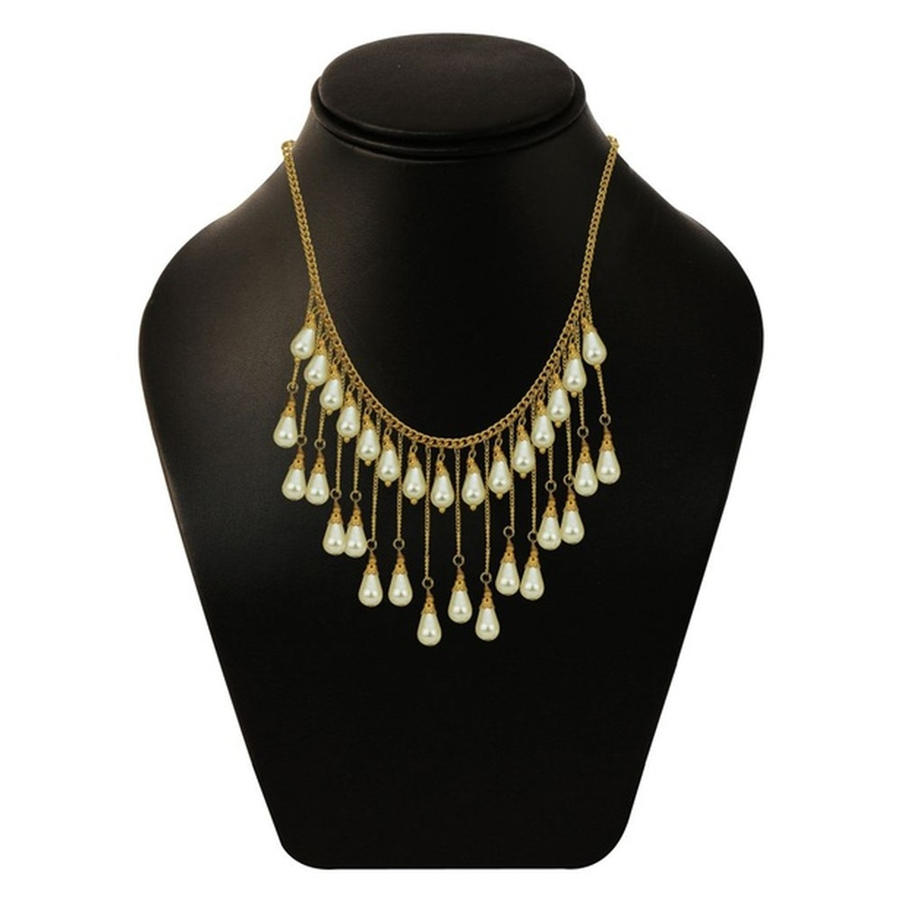 Stylish off-white and gold-toned double-layer dangler necklace