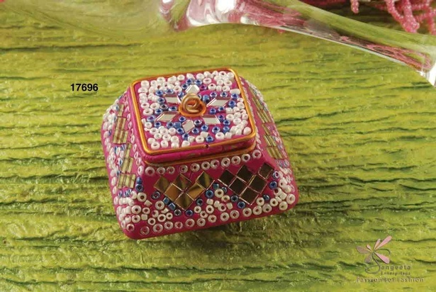 Glass and lac pill box in magenta colour - Decorative pill boxes by Sangeeta Enterprises