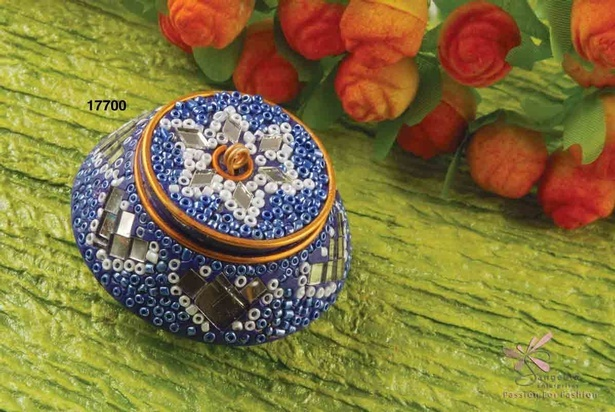 Seed beads, mirrors and lac pill box in royal blue colour - Decorative pill boxes by  Sangeeta Enterprises