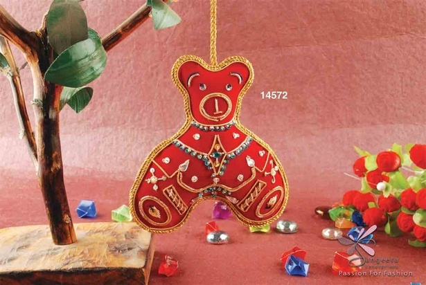 Fabric, thread, glass and sequins, Christmas hanging in red colour