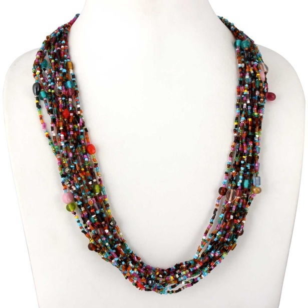 Multicolor glass beads multi-strand lightweight necklace