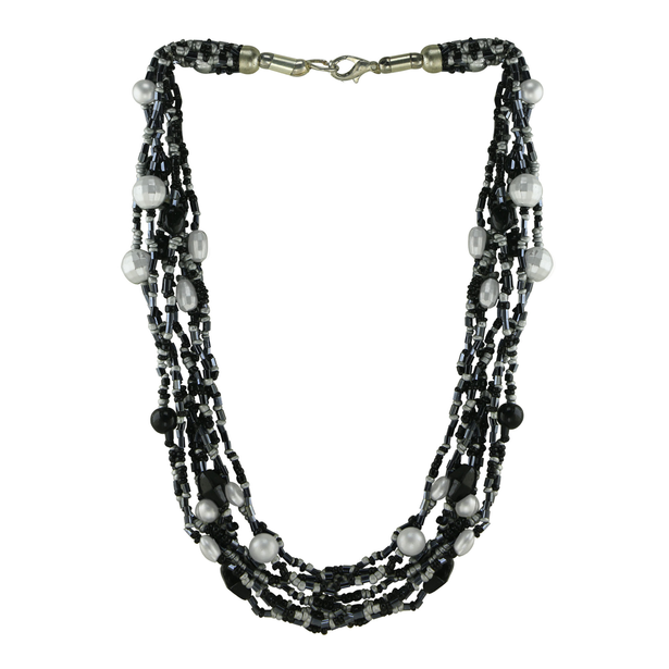 Glamorous Grey and black colour multi-strand necklace