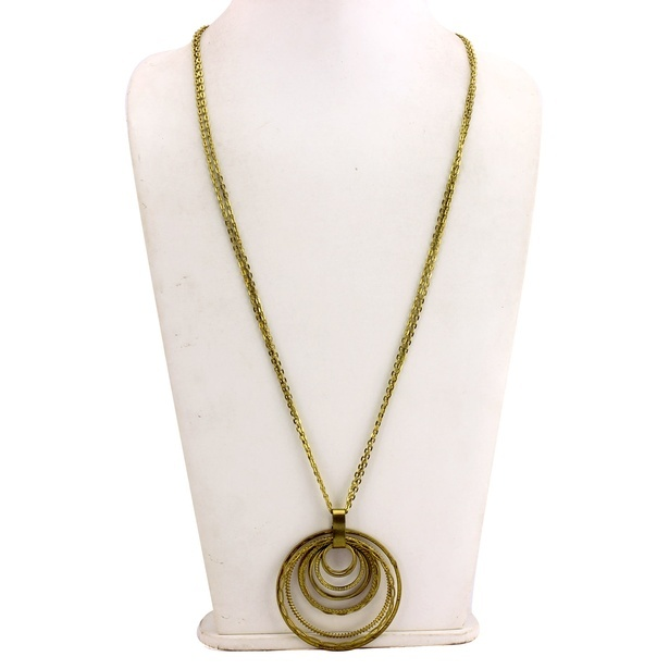 Brim Circuit Alloy Metal Gold Pendant Necklace