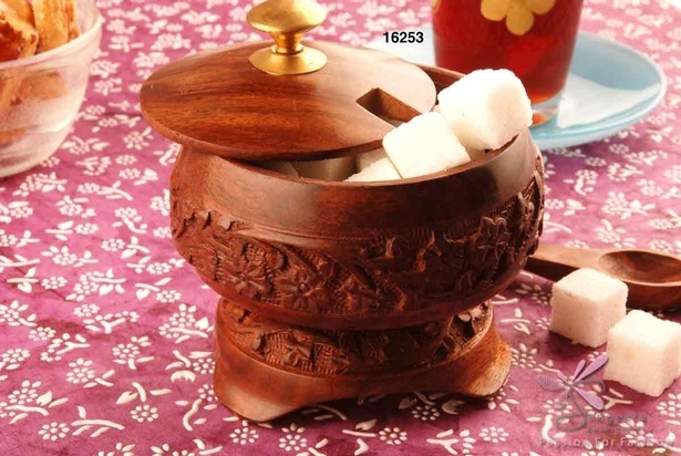 Brass and sheesham wood sugar bowl with a spoon - Tableware by Sangeeta Enterprises