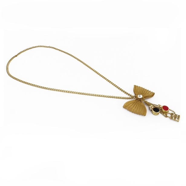 Bow Tie Metal Glass Meenakari Multi Color Pendant Necklace