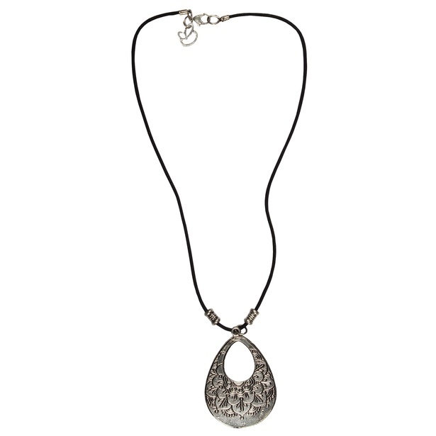 Antique Silver Hoopla Metal Pendant Necklace