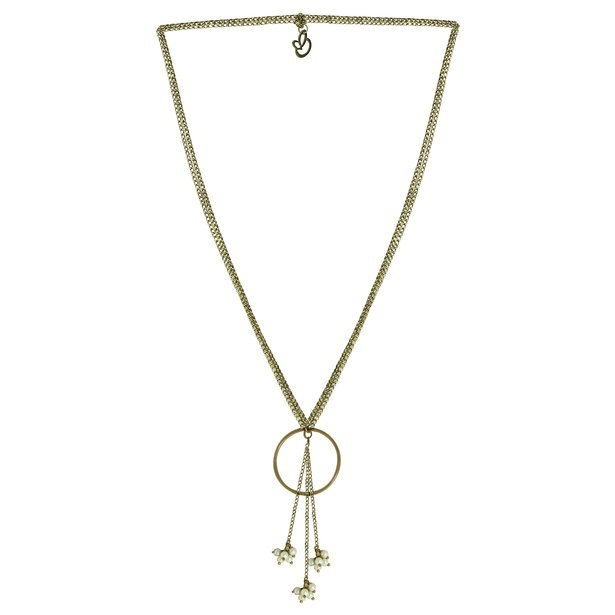 Gold colour chain necklace with circle tassel Pendant