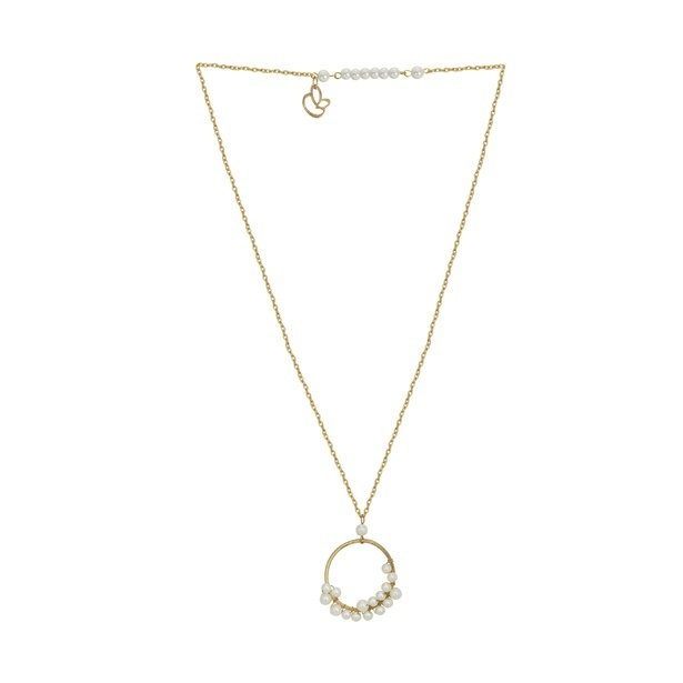 Aristocrat Gold Metal and White Acrylic Pearl Pendant Necklace