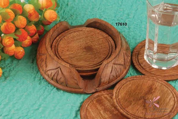 Beautiful set of six coasters made of wood Table Coasters by Sangeeta Enterprises