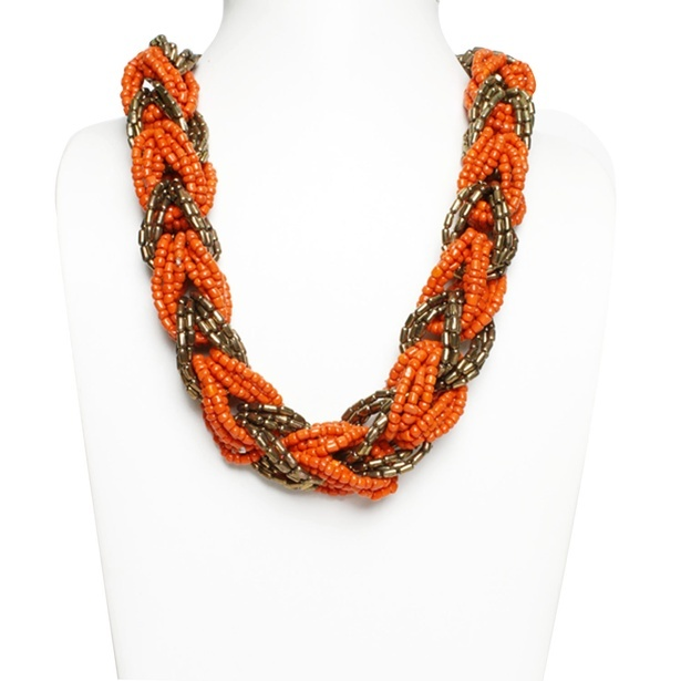 Beaded gold and orange multi-strand necklace by Sangeeta Enterprises - Fashion Jewellery suppliers in India