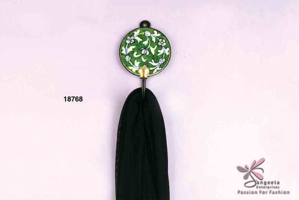 Pretty ceramic and metal hook in green colour available at Sangeeta Enterprises