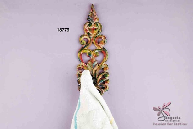 Decorative wood and wrought iron hook