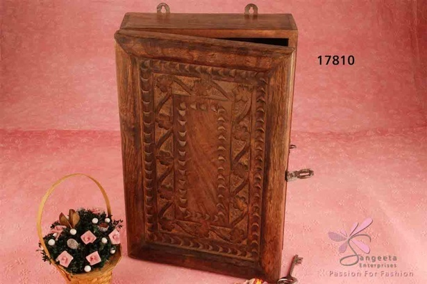 Wood key holder cabinet in dark brown colour