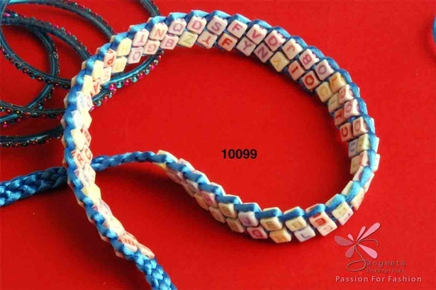 Acrylic belt with alphabet beads in blue and other attractive colours