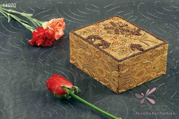 Fabric and sequins embroidered jewellery box in brown and gold colour by Sangeeta Enterprises - Fashion Jewellery Suppliers India