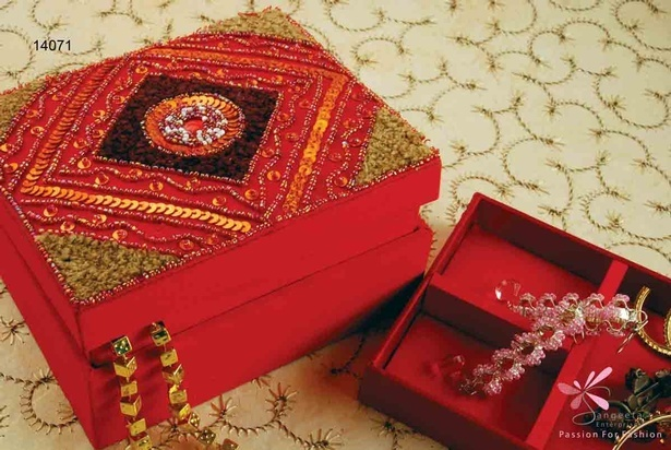 Beads and sequins jewellery box in red colour by Sangeeta Enterprises - Fashion Jewellery Manufacturer in India