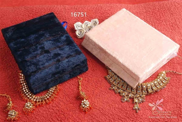 Sapphire blue  and beige colour jewellery box in velvet material by Sangeeta Enterprises - Fashion Jewellery Suppliers India