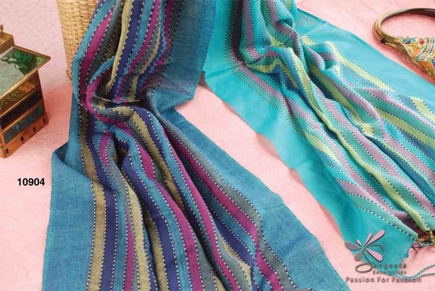 Striped stole with tassels in a colour combination of yellow, pink, dark blue and green turquoise