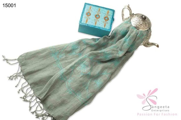 Light green and sky blue stole with tassels - Designer stoles by Sangeeta Enterprises