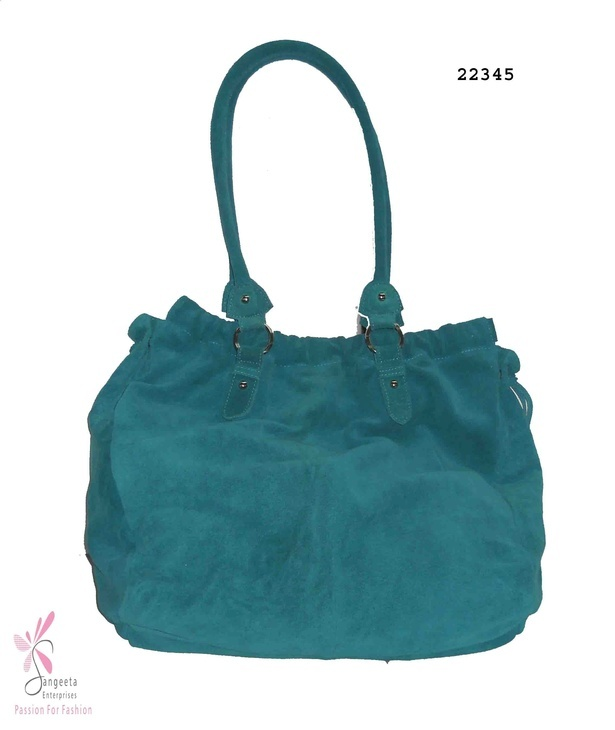 Sea green colour bag in leather and metal