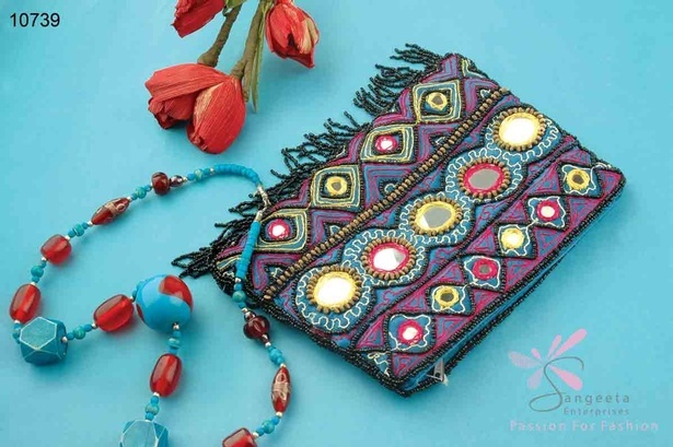 Traditional and frolic look beaded purse by Sangeeta Enterprises