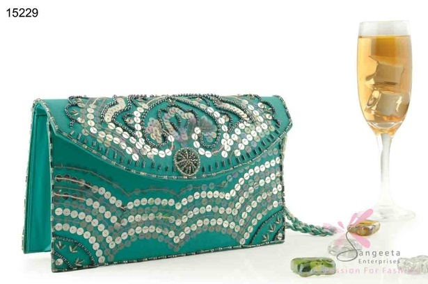 An elegant purse with sequins in green colour - Designer Purses by Sangeeta Enterprises