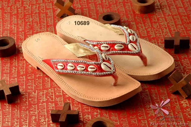 Embellished in sequins, seed beads, and cowries red and beige colour pair of beaded slippers