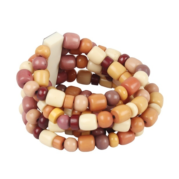 Resin bracelet in a colour combination of yellow and shades of brown