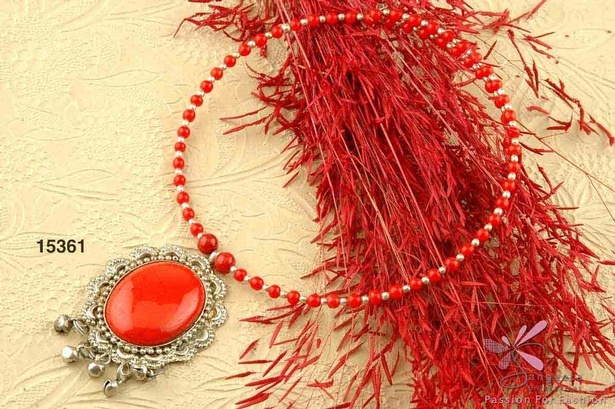Red glass beads and stone choker with antique silver plated metal