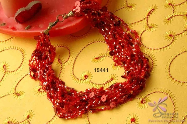 Glass and sequins choker in red colour - Choker Necklaces Online at Sangeeta Enterprises
