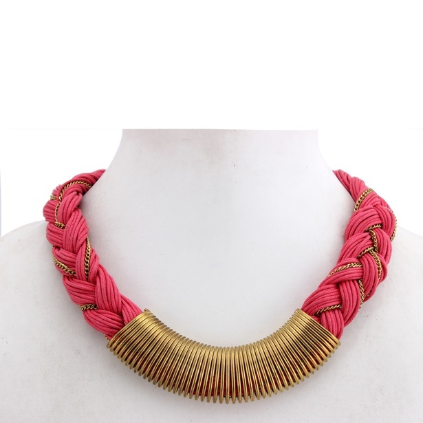 Pink Antique Gold Alloy Metal Cotton Thread Strand Necklace