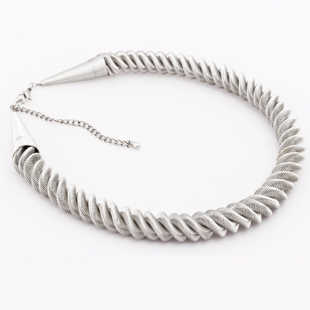 Twisted Wire Metal Silver Choker Necklace at Sangeeta Enterprises