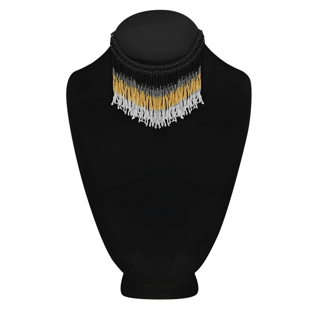 Statement Alloy Metal Seed Bead Black Gold Tassel Choker Necklace