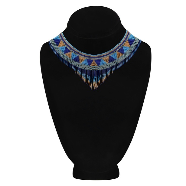 Tribal Design Alloy Metal Beaded Multi-Color Choker Necklace