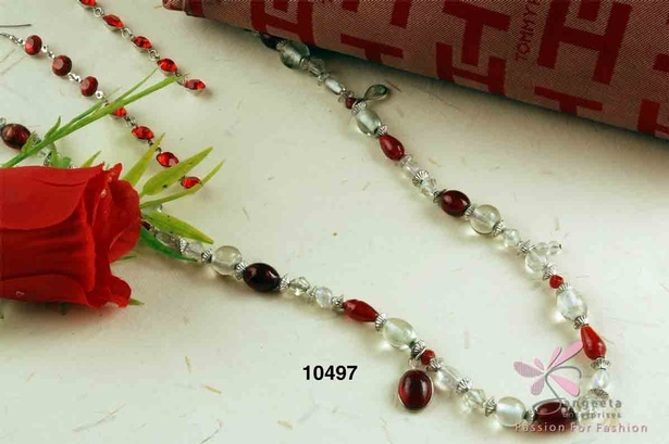 Red and white colour beads long necklace online at Sangeeta Enterprises