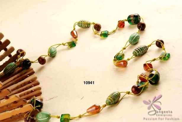 Stylish green and brown beads long necklace online at Sangeeta Enterprises