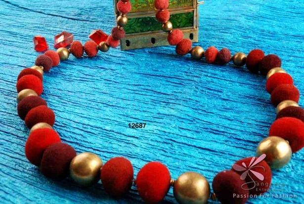 Metal and cloth beads necklace in red colour - Fancy necklaces online at Sangeeta Enterprises