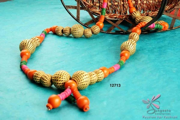 Bone, resin and cloth beads necklace in dark colours - Fancy Artificial Necklaces Online at Sangeeta Enterprises