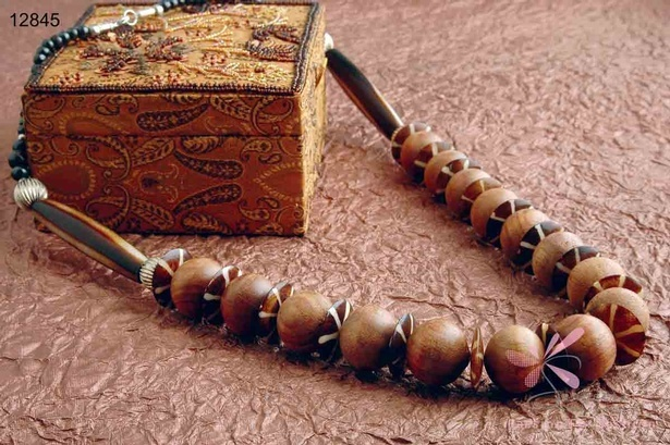 Wooden beads long necklace - Artificial jewellery necklaces online at Sangeeta Enterprises