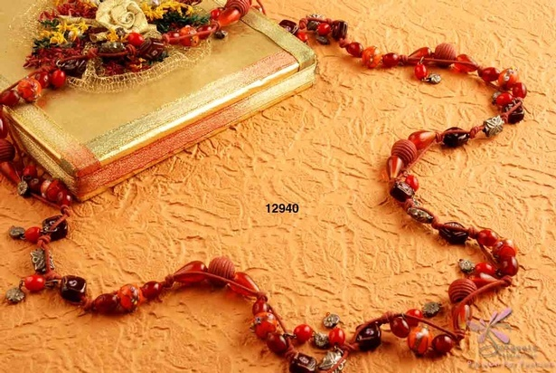 Charming red colour beads necklace at Sangeeta Enterprises - Fashion Jewellery Manufacturer in India