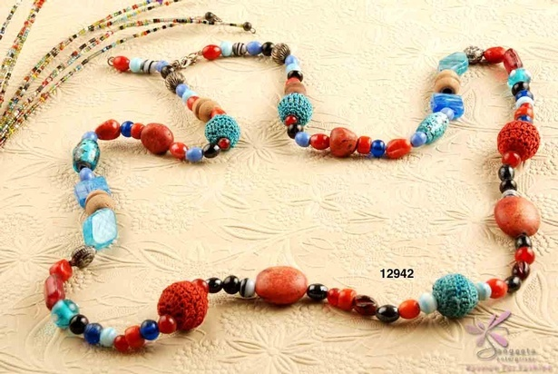 Mud beads and Crochet beads necklace in bright colours