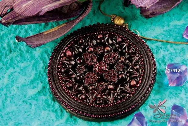 Traditional design wooden pendant in rich brown and maroon