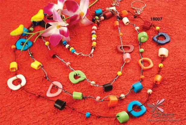 Bone necklace in bright colours available at Sangeeta Enterprises - Fancy necklaces online India