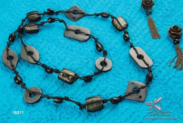 Beautiful black necklace set with earrings - Fancy necklace online at Sangeeta Enterprises