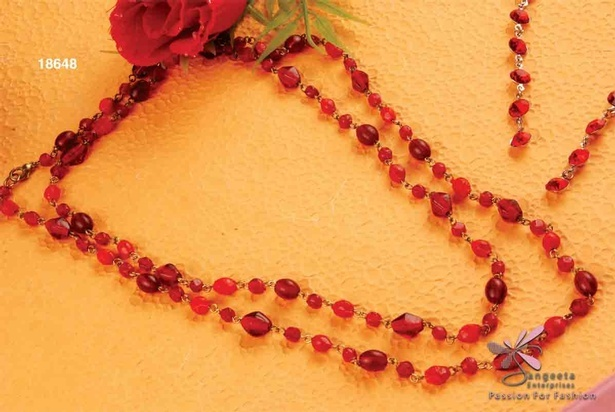 Red colour beads chain necklace at Sangeeta Enterprises