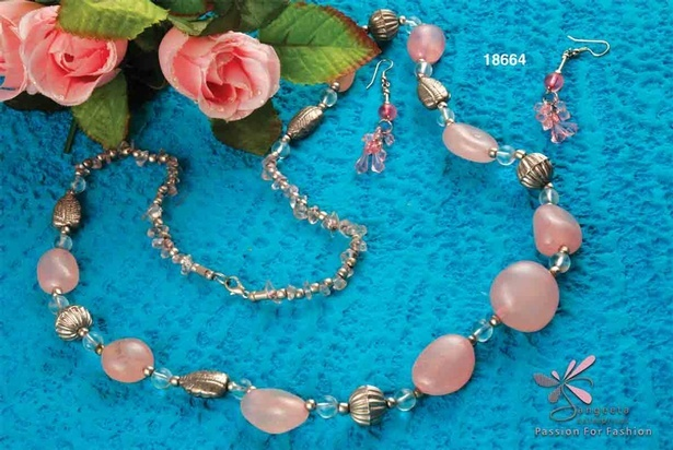 Gorgeous necklace in pink colour beads at Sangeeta Enterprises - Fancy necklaces online India