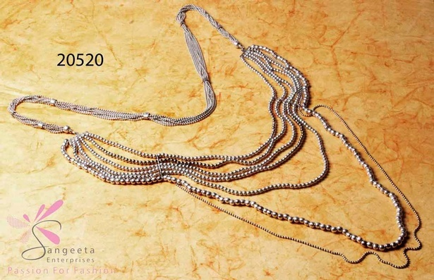 Metallic beads multi strand necklace at Sangeeta Enterprises - Fashion Jewellery Exporters India