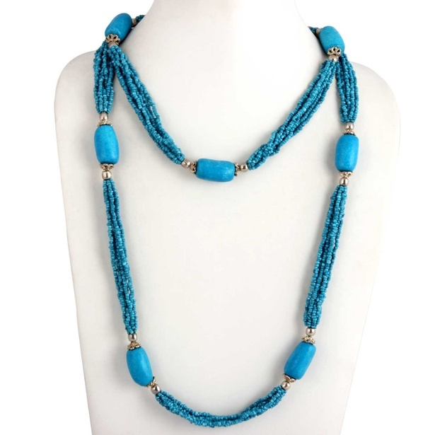 Blue Seed Bead Multi Strand Necklace at Sangeeta Enterprises