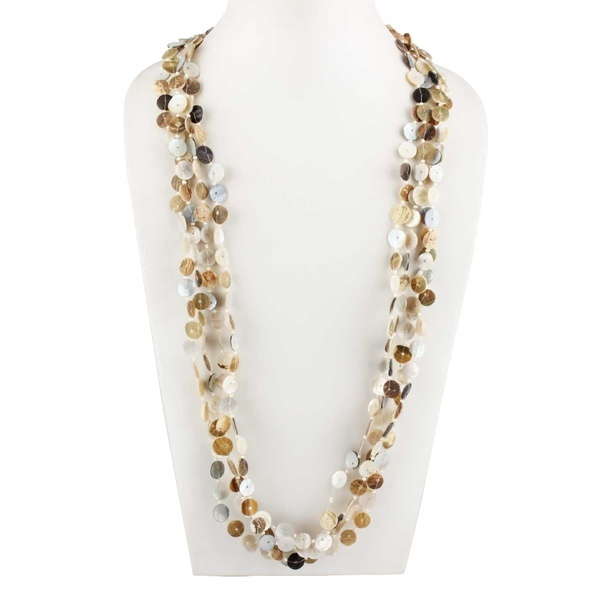 Exclusive Shell Seed Bead Metal Multi Layered Necklace