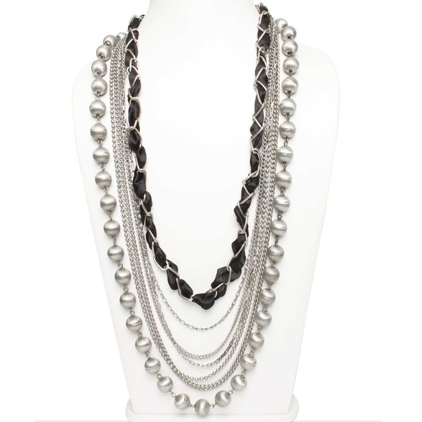 Antique Silver Black Multi-Strand Necklace at Sangeeta Enterprises